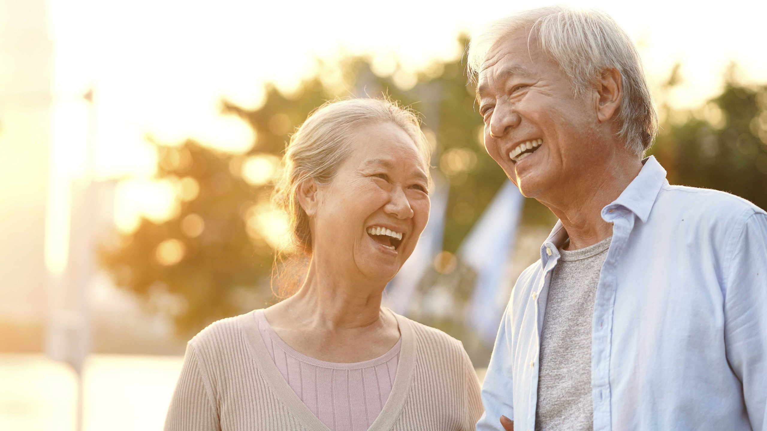 Happy senior couple laughing together in the sunshine
